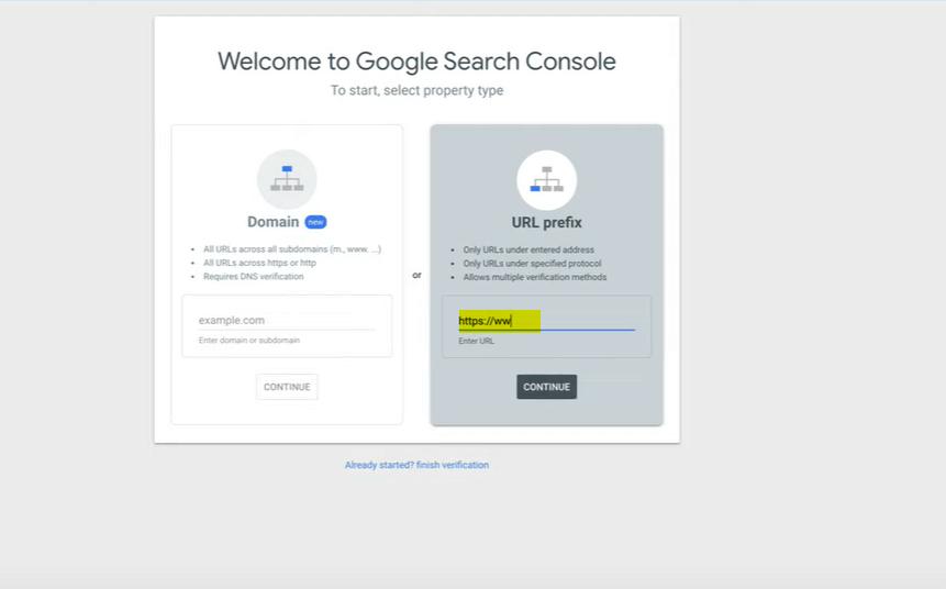 Add Domain In URL Prefix- Google Search Console